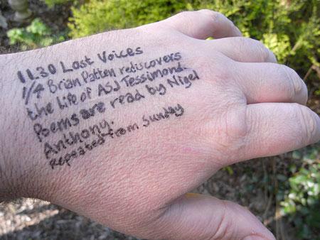 A Radio Times radio listing written on Steve Bowbrick's hand in felt pen